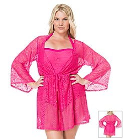 Jessica Simpson Plus Size Cut Out Crochet Cover Up