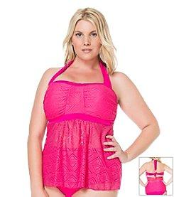 Jessica Simpson Plus Size Crochet Flyaway Bandeau Tankini Top