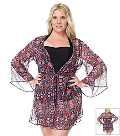 Jessica Simpson Plus Size Folkloric Tie Front Cover Up