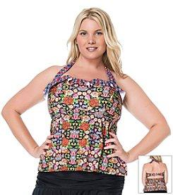 Jessica Simpson Plus Size Folkloric Ruffle Bandeau Tankini Top