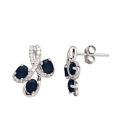 Sapphire and 0.17 ct. t.w. Diamond Earrings in 10K White Gold