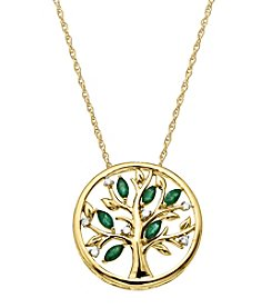 Emerald and 0.05 ct. t.w. Diamond Tree of Life Pendant Necklace in 10K Gold