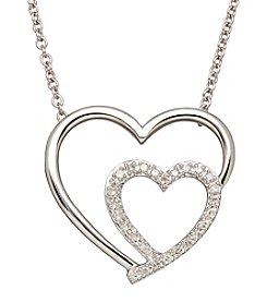 0.13 ct. t.w. Diamond Heart Pendant Necklace in Sterling Silver