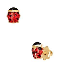 14K Gold Enamel Ladybug Baby Earrings
