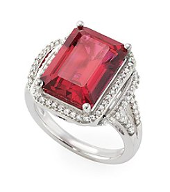 Lab Created Ruby Ring in Sterling Silver