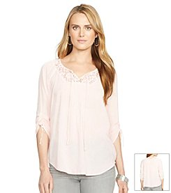 Lauren Jeans Co.® Cropped-Sleeved Lace Tunic Top