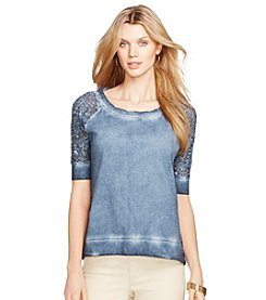 Lauren Jeans Co.® Lace-Sleeved Terry Top