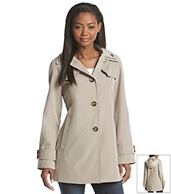 London Fog® Hooded A-Line With Double Collar Jacket