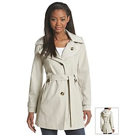 London Fog® Single-Breasted Double Collar Trench Coat
