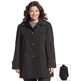 London Fog® Plus Size Hooded A-Line With Double Collar Jacket