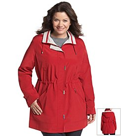 Gallery® Plus Size Faux Silk Anorak With Detachable Hood
