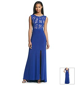 Morgan & Co.® Long Lace Bodice Dress