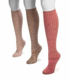 MUK LUKS Women's 3-Pair Pack Marl Knee High Socks - Petal