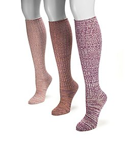 MUK LUKS Women's 3-Pack Berry Marled Knee High Socks