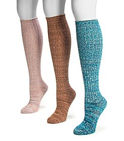 MUK LUKS Women's 3-Pack Pastel Marled Knee High Socks