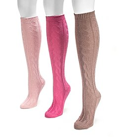 MUK LUKS Women's 3-Pack Blush Microfiber Knee High Socks