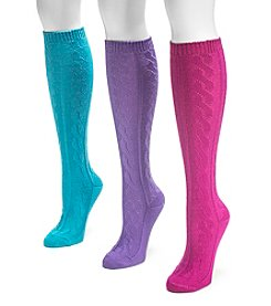 MUK LUKS Women's 3-Pack Jewel Microfiber Knee High Socks