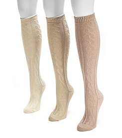 MUK LUKS Women's 3-Pack Neutral Microfiber Knee High Socks