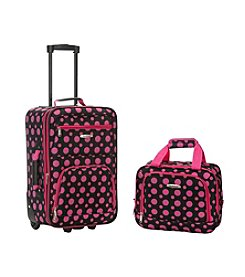 Rockland 2-pc. Black and Pink Dot Luggage Set