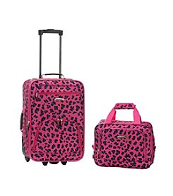 Rockland 2-pc. Magenta Leopard Luggage Set