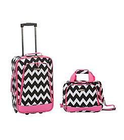 Rockland 2-pc. Pink Chevron Luggage Set