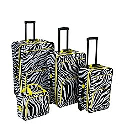 Rockland 4-pc. Lime Zebra Luggage Set