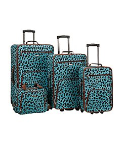 Rockland 4-pc. Blue Leopard Luggage Set
