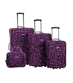 Rockland 4-pc. Purple Leopard Luggage Set