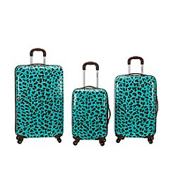 Rockland 3-pc. Blue Leopard ABS Upright Luggage Set