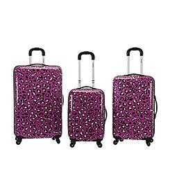 Rockland 3-pc. Purple Leopard ABS Upright Luggage Set