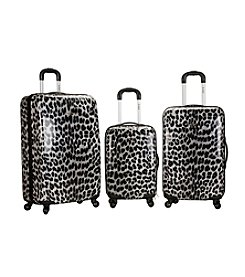 Rockland 3-pc. Snow Leopard ABS Upright Luggage Set