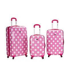 Rockland 3-pc. Pink Dot ABS Upright Luggage Set