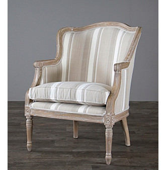 Baxton Studios Charlemagne Traditional French Brown Stripe Accent Chair