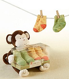 Baby Aspen 2-Pack Plush Monkey and Socks for Baby