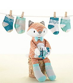 Baby Aspen Knit Plush Fox and Four Pairs of Socks for Baby