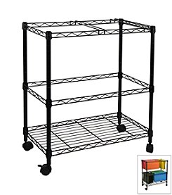 Oceanstar Portable 2-Tier Black Metal Rolling File Cart