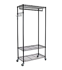 Oceanstar Black Garment Rack with Adjustable Shelves with Hooks
