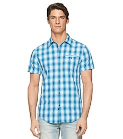 Calvin Klein Jeans Men's Short Sleeve Ocean Checks Woven