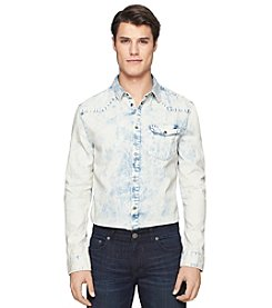 Calvin Klein Jeans Men's Long Sleeve Wipe Out Wash Woven