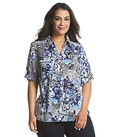 Notations® Plus Size Multi Print Button Up Blouse