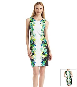 Calvin Klein Floral Boarder Sheath Dress