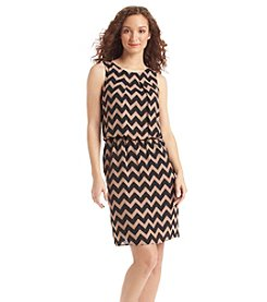 S.L. Fashions Chevron Blouson Dress