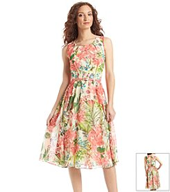 Julian Taylor Floral Chiffon Midi Dress