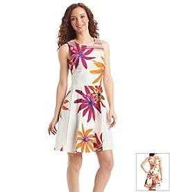 Julian Taylor Floral Pintuck Dress