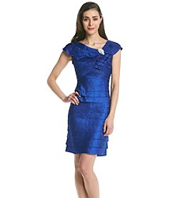 London Times® Petites' Drape Shimmer Shutter Dress