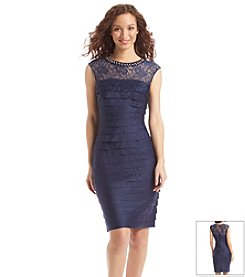 London Times® Illusion Lace Shutter Dress