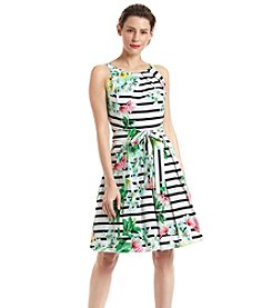 Chetta B. Floral Cotton Fit And Flare Dress
