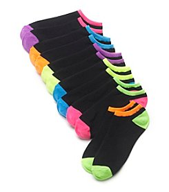 High Point 6 Pack Rainbow Heel No Show Socks