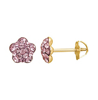 14K Yellow Gold Flower Earrings with Rose Crystal Pave Finish