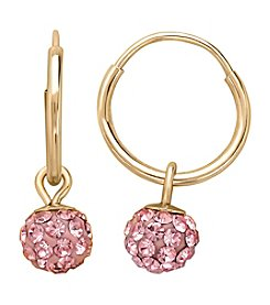 14K Yellow Gold Endless Hoop Earrings with Rose Crystal Ball Drop